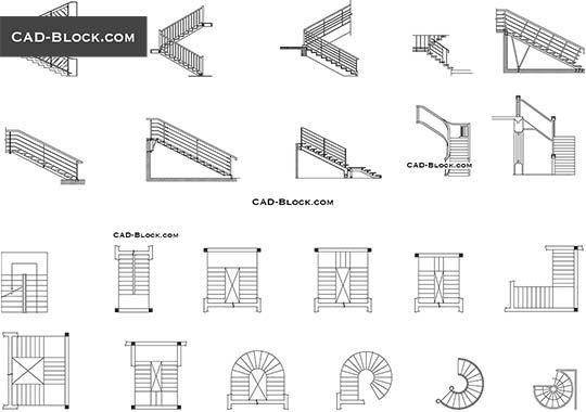 Stairs Plan Elevation Free Autocad Blocks Documents