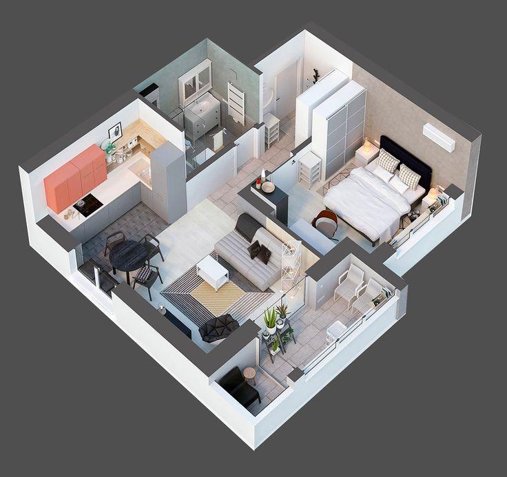 Top down architectural diagram 40sqm apartment