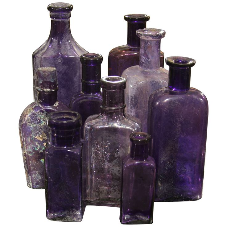 Group of Nine Purple Bottles, 19th C | From a unique collection of antique and modern decorative objects at http://www.1stdibs.com/furniture/more-furniture-collectibles/decorative-objects/