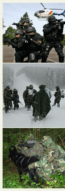 ERT members training in various environments including forest and snow.