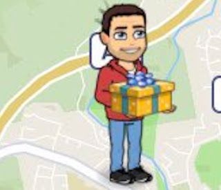 Bitmoji Holding Present - Actionmoji Snapchat  Why is your Bitmoji holding a present? In the tweet below Snapchat explains that Actionmojis use signals from your phone to guess what you're up to. If you're near the ocean your Bitmoji might show you at the beach. Snapchat knows where you are and what you're doing. Are you scared yet?  How Actionmoji Works  Snapchat uses indicators like your speed of travel and the time of day to guess what your doing. The company uses Snap Map and Actionmojis…