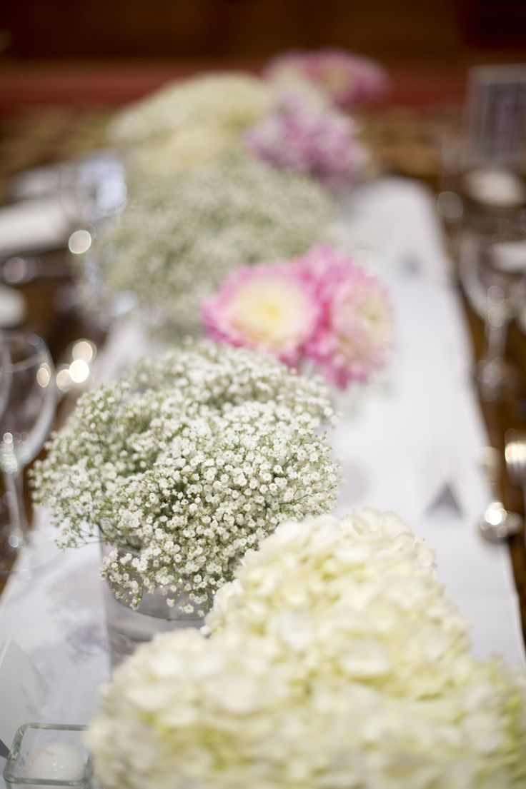 Table arrangement | #babysbreath | Photography www.anastasiaphotography.ca | see more, www.blissevent.ca