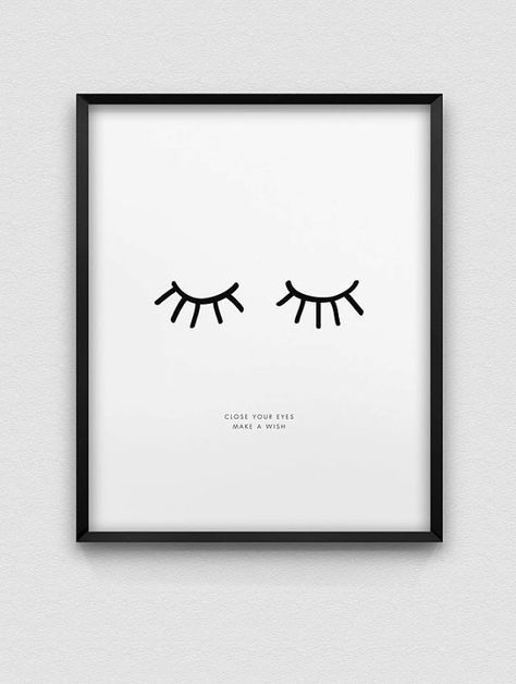Inspirational print // close your eyes make a wish print // black and white print // nordic style home decor // typo print // dream print – sophia