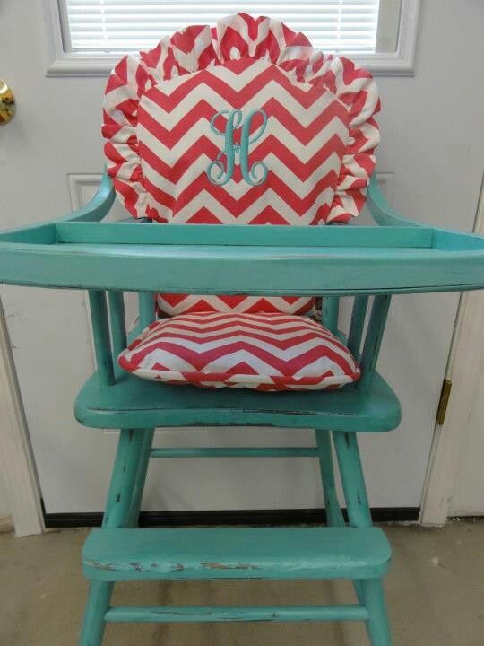 Antique painted wooden high chair with monogrammed cushion! LOVE! My child  WILL have this - 25+ Unique Wooden High Chairs Ideas On Pinterest Wooden Baby