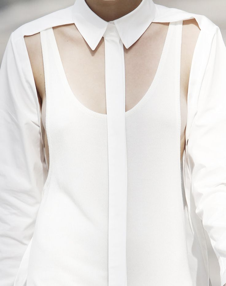 Deconstructed white shirt reinvented with tank top; contemporary fashion details
