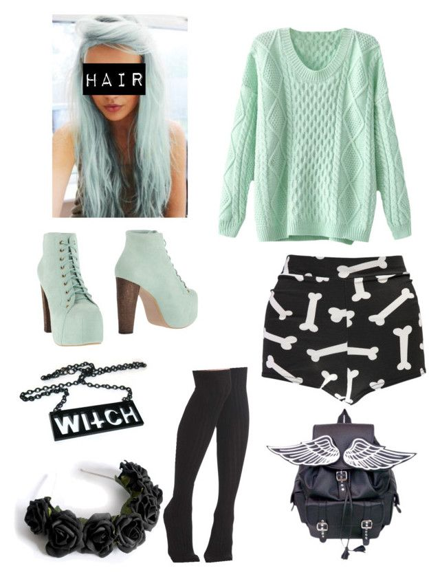 """""""Pastel Goth"""" by pipertehcat ❤ liked on Polyvore featuring Boohoo, LOTTA and Jeffrey Campbell"""