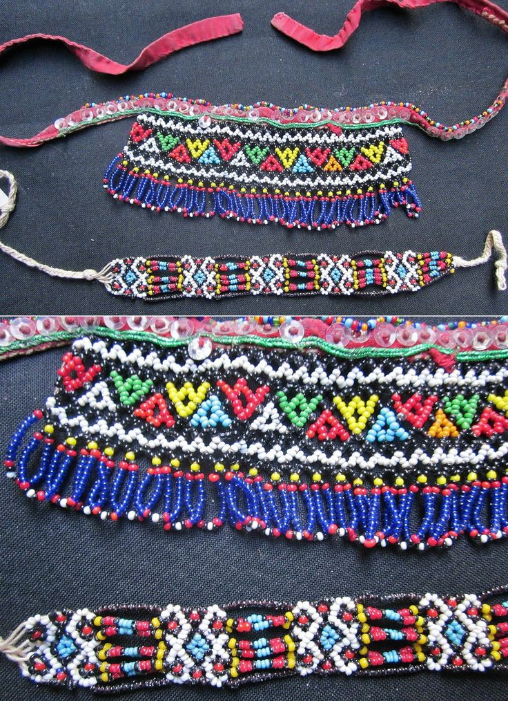 'Gerdanlık' (necklace, to be worn close to the neck) and 'bilezik' (bracelet). For women. Turkish beadwork, from Burgaz (Bulgaria). Mid-20th century. (Kavak Costume Collection-Antwerpen/Belgium).