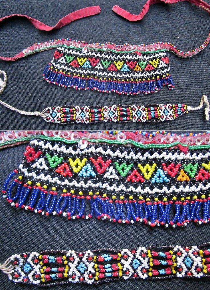 'Gerdanlık' (necklace, to be worn close to the neck) and 'bilezik' (bracelet).  For women.  Turkish beadwork, from Burgaz (Bulgaria).  Mid-20th century.  (Kavak Costume Collection-Antwerpen/Belgium).