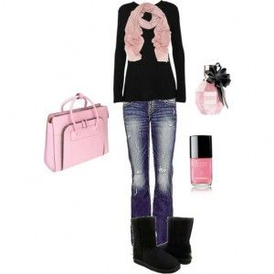 Cute: Ugg, Dreams Closet, Clothing, Casual, Pink Outfits, Winter Outfits, Pink Scarves, Boots, Pink Black