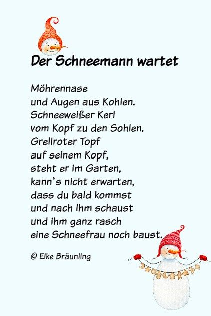 Der Schneemann Wartet Wintergedichte Fur Kinder Gedichte Fur Kinder Gedicht Weihnachten