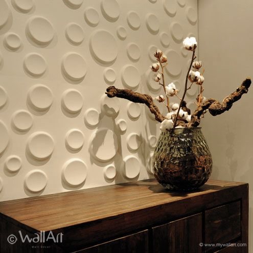 Give your walls a 'fizzy' effect with 3dwallpaper Craters. An elegant design that consists of multiple circles or 'bubbles' in various dimensions. You can create a fantastic effect when playing with light!