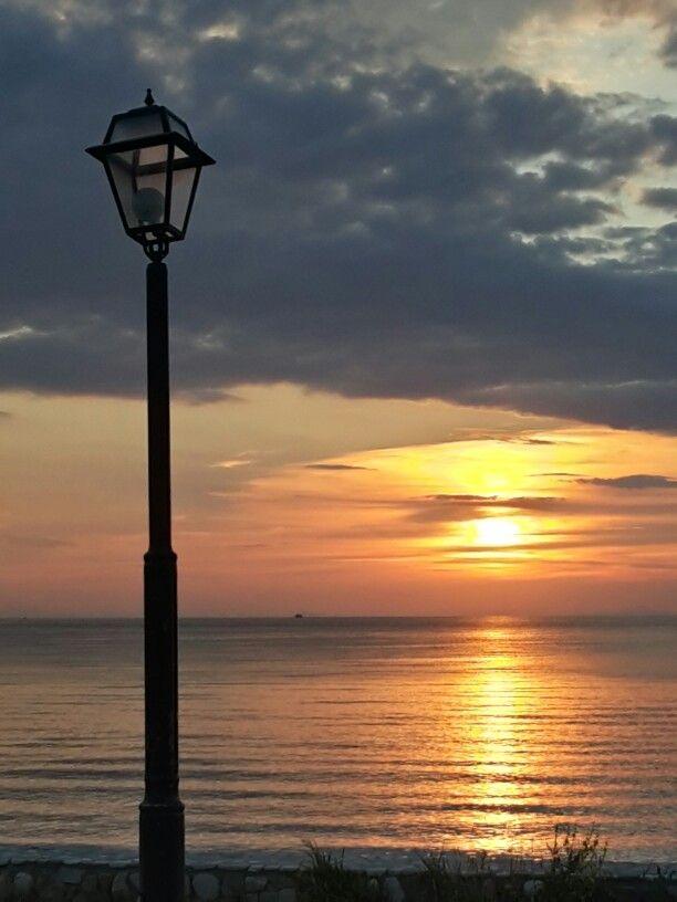 beautiful sunrise in skala potamia, thassos