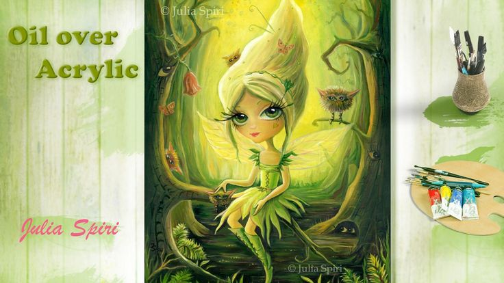 Oil painting.  OIL OVER ACRYLIC. Fantasy Art, Fairy and Critters, Acryli...