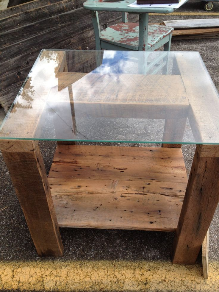 Barnwood Glass Top End Table By Little1created On Etsy Https://www.etsy