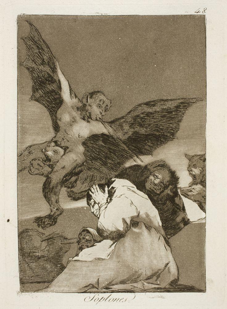"""Francisco de Goya: """"Soplones"""". Serie """"Los caprichos"""" [48]. Etching and aquatint on paper, 205 x 149 mm, 1797-99. Museo Nacional del Prado, Madrid, Spain"""