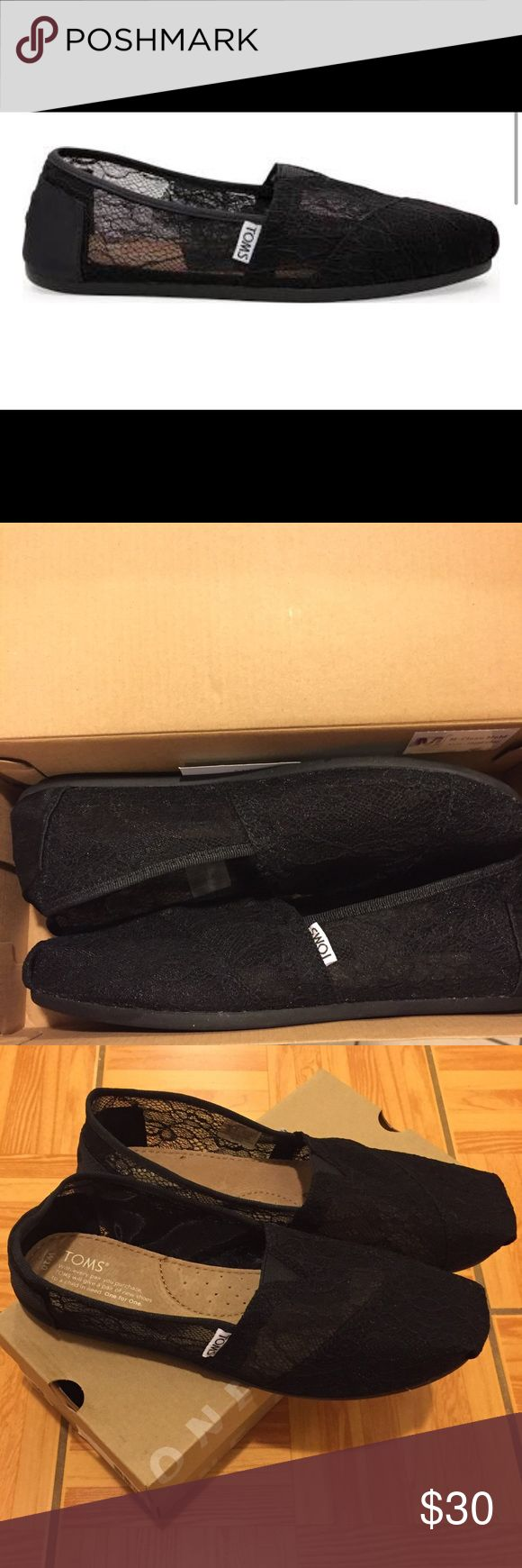 NIB TOMS Black Lace Classics Slip-On Shoes Sheer beauty. A transparent lace upper makes this Classic a perfectly airy complement to any fresh, casual look. TOMS toe-stitch and elastic V for easy on and off Classic suede insole with cushion for comfort Latex arch insert for added support TOMS classic one-piece outsole for flexibility and durability •New in Box •Never worn! •No Tags, but does come with box  👾NO TRADES 👾OFFERS WELCOMED! 👾BUNDLE TO SAVE  👾FEEL FREE TO ASK ANY QUESTIONS TOMS…