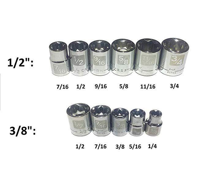 Craftsman Easy Read 11 Pc Sae Standard 3 8and 1 2drive 8 Point Socket Set Review Socket Set Craftsman Sockets