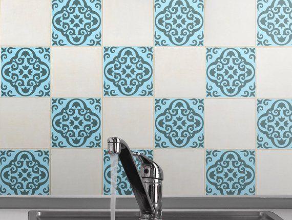 Zestaw 15 Naklejek Na Plytki Z Zielonkawym Niebieskim Wzorem W Stylu Vintage Wykonane Z 100 Jakosc Trendy Kitchen Tile Geometric Decals Trendy Kitchen Colors