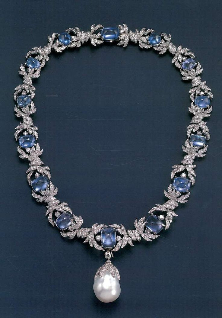 VERDURA Sapphire and Diamond necklace with large natural baroque Pearl drop…