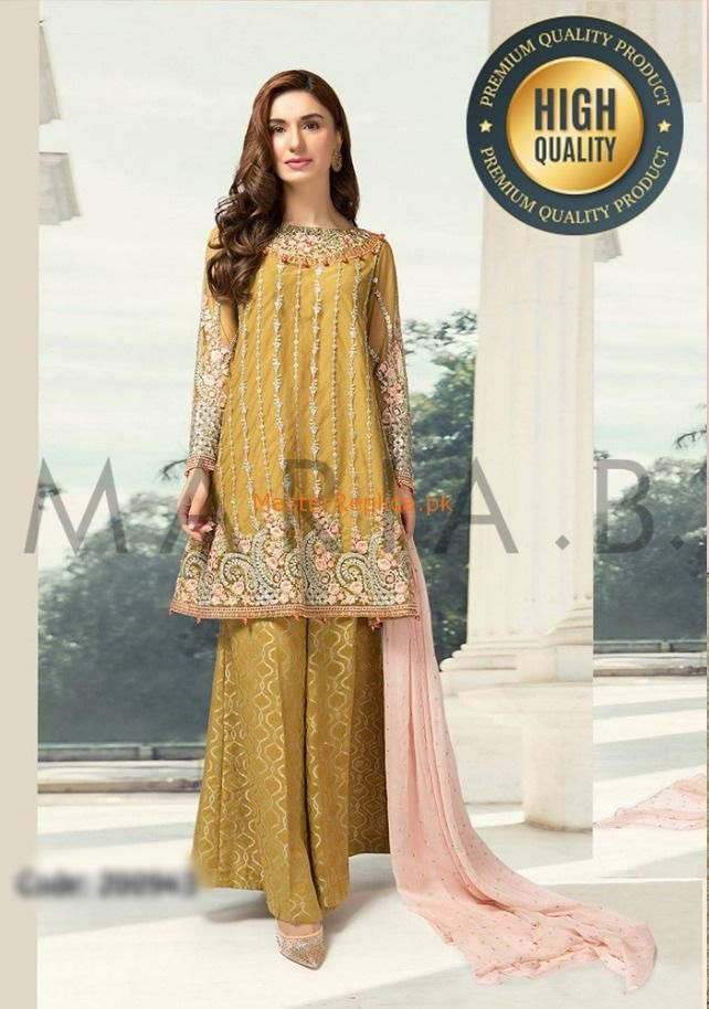 d633f4d937 Maria b sf-1648a embroidered chiffon collection 2018 master replica in 2019  | Maria B Designer Clothing replica | Maria b, Dresses, Pakistani dresses