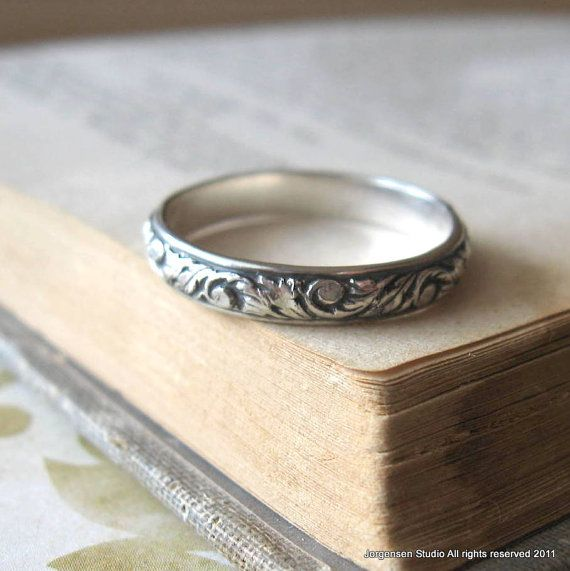 Stacking Ring  or Wedding Band in Sterling Silver Scroll pattern