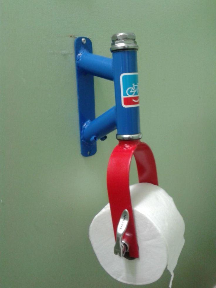 Bicycle parts toilet paper holder. Unique idea!