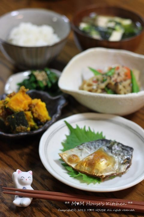 Typical Japanese Home Meals (Grilled Saba Mackerel, Variety of Cooked Vegetables, Rice and Miso Soup)