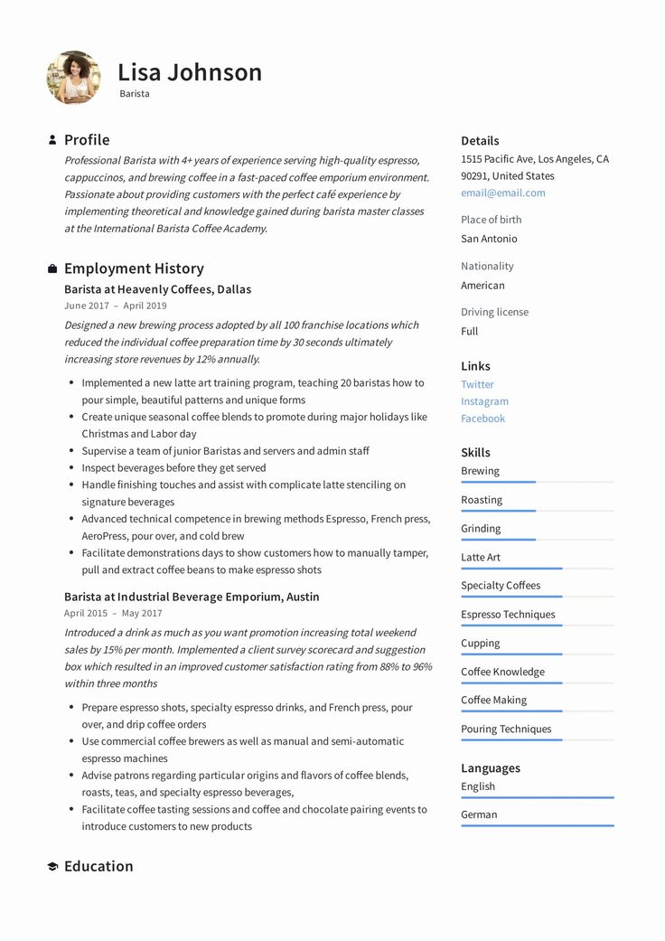 Barista Job Description Resume Elegant Barista Resume