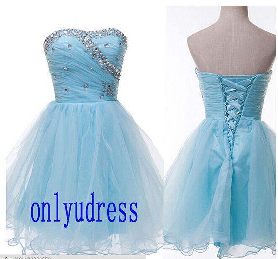Baby blue homecoming dresses, short homecoming dresses, organza homecoming dress, lace up beading blue homecoming dress 5282 on Etsy, $95.00