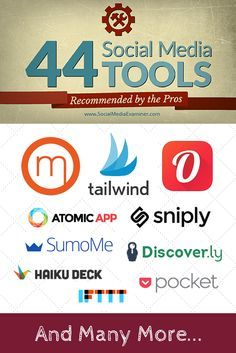 44 Social Media Tools recommended by the Pros. Great suggestions that can really help for Pinterest, like Tailwind, Pocket, Sniply, Markr and more via /smexaminer/