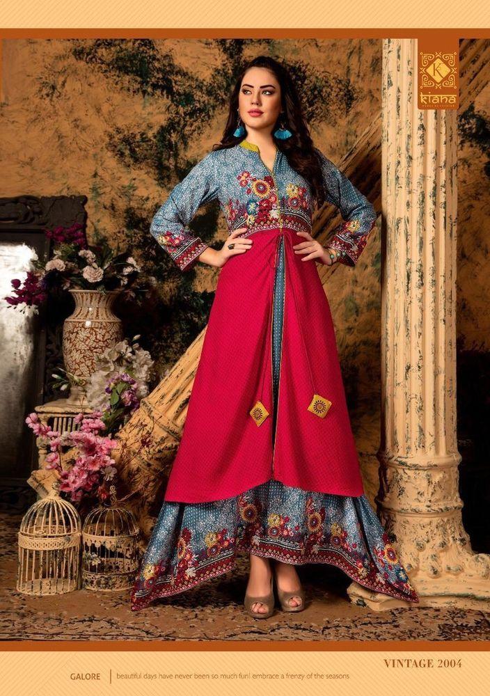 2f Indian-Bollywood-Designer-indo-western-gown-Kurta-Kurti-women-ethnic-dress