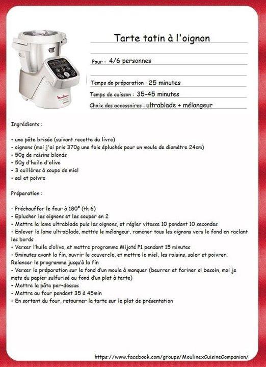 Tarte tatin à l'oignon   recette companion 02100