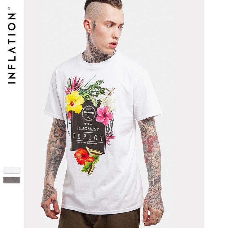 [ $10.10 ] INFLATION 2017 Summer Collection FLOWER & JUDGMENT DEPICT Printed High Street O Neck Cotton Men T Shirt Hip Hop Tees