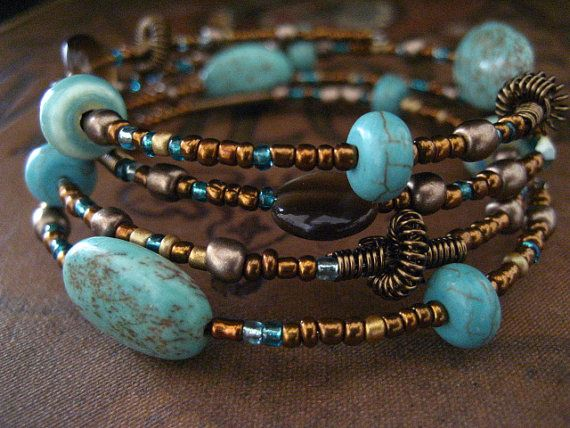 Beaded Memory Wire Bracelet Multi Strand Aqua Green Turquoise and Brown Wrapped Bracelet