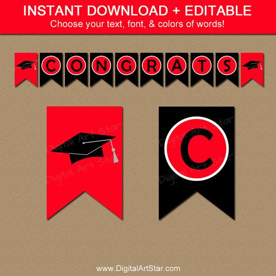 Printable Graduation Banner  Red & Black.  Editable text - spell out anything you want.