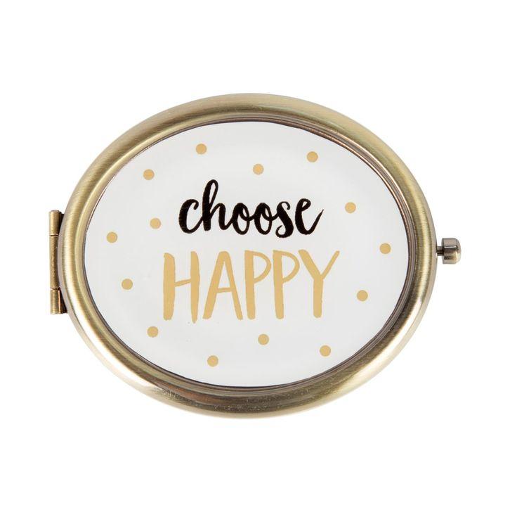 Choose Happy - spiegeltje.  Dit compacte spiegeltje is een ware verrassing. Op de voorkant staat: Choose happy. Mooi compact en een super leuk design, voor iedere vrouw dus een must have in de tas! www.Millows.nl