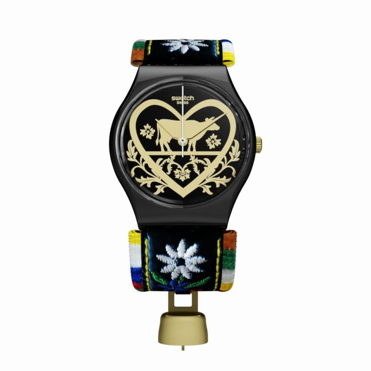 A stunning blend of texture and pattern, the DIE GLOCKE (GB285) watch is a modern icon. This elegant watch starts with a gold-tone mirrored dial featuring black prints and a pastoral motif. A shiny black case meets a black leather strap accented with multi-coloured floral embroidery and an attached cow bell detail.