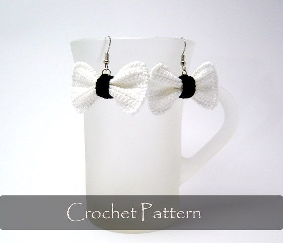 CROCHET PATTERN  Crochet Bow Earrings Bows by AimarroPatterns