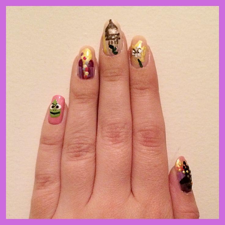 Rapunzel Nails: 26 Best Disney Princess Nails Images On Pinterest