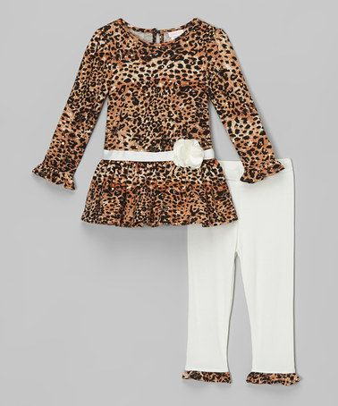 This Brown Leopard Tunic & Cream Leggings - Infant is perfect! #zulilyfinds