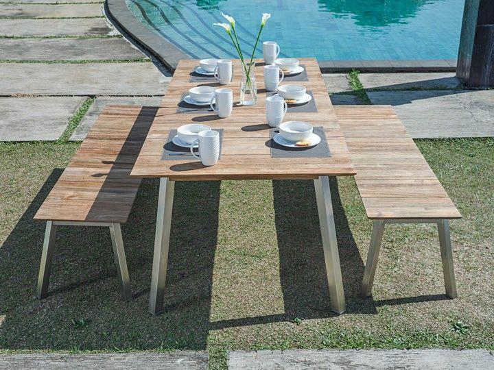 Nice LINAX Garten Bank Edelstahl u Teak recycelt Klares Statement Mit modernem und einzigartig klarem Stil schaffen die Gartenm bel Linax auf I