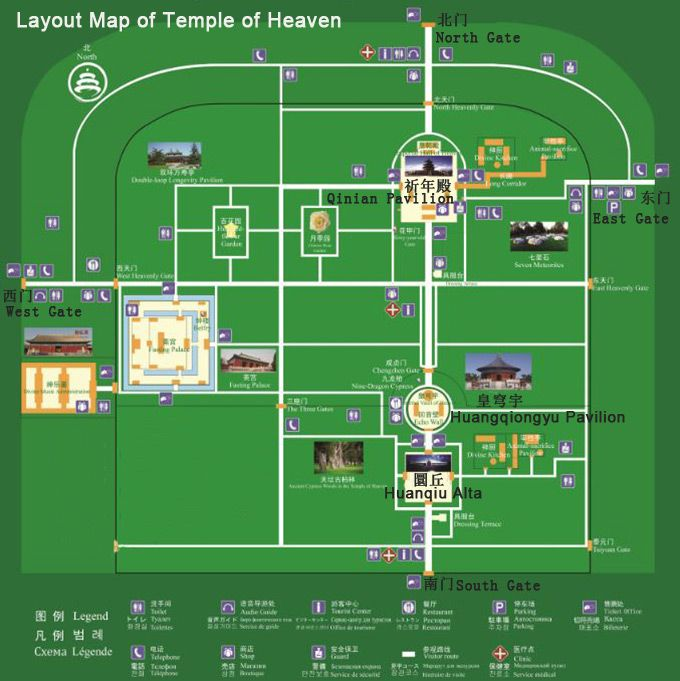 Layout Of Temple Of Heaven Beijing Tourist Map Beijing Map Temple Of Heaven