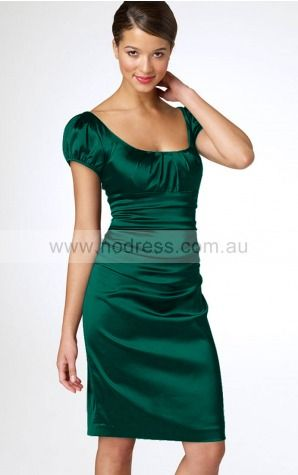 Short Sleeves Zipper Scoop Knee-length Satin Evening Dresses dt00182--Hodress