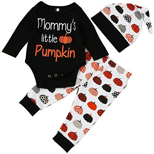 Cute Infant Baby Girl Boy Halloween Clothes Long Sleeve Pumpkin Romper with Hat and Pants Outfits Set 3PC (0-6 Months, Black). For price & product info go to: https://all4babies.co.business/cute-infant-baby-girl-boy-halloween-clothes-long-sleeve-pumpkin-romper-with-hat-and-pants-outfits-set-3pc-0-6-months-black/