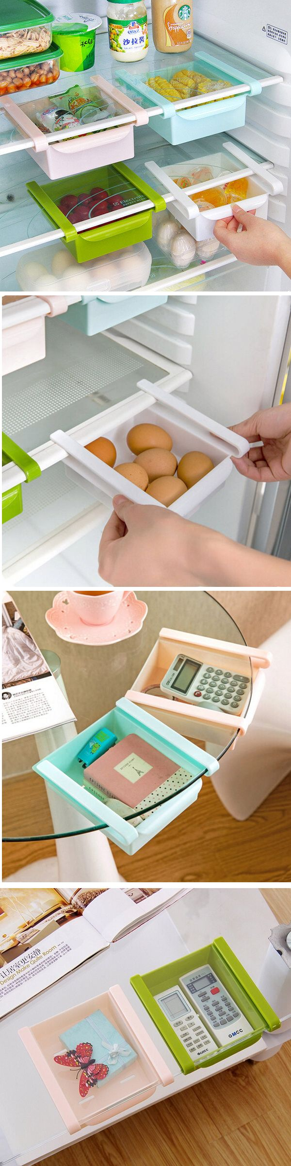 Plastic Kitchen Refrigerator Fridge Storage Rack Freezer Shelf Holder Kitchen Organization