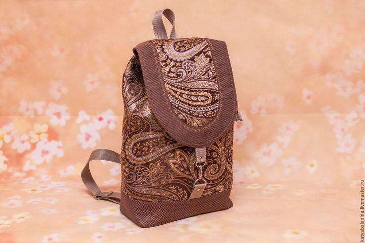 Купить Рюкзак Пейсли Восточный огурец - коричневый, пейсли, восток, восточный стиль, восточный орнамент