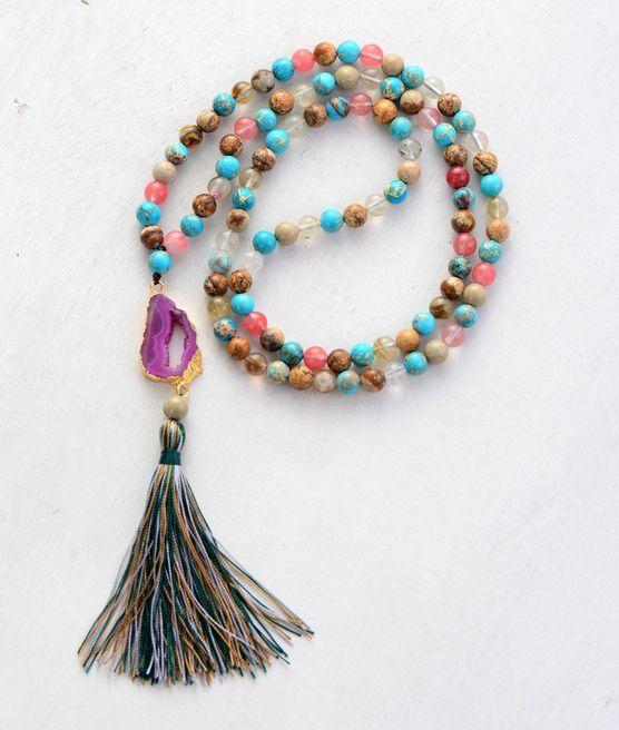 Natural Quartz Stones With Gilded Druzy Tassel Boho Necklace