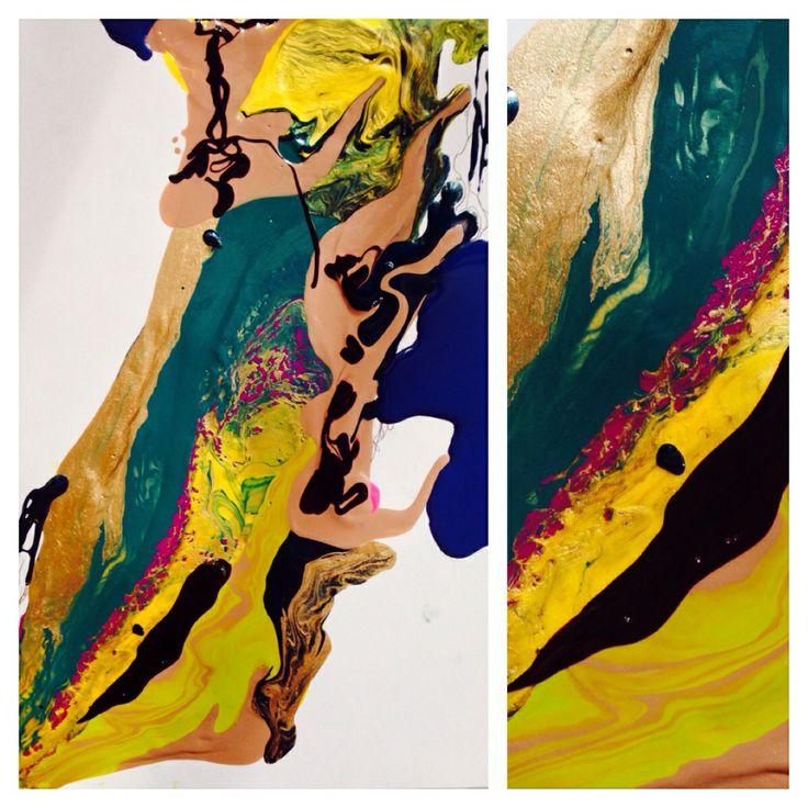 """""""Sweden"""" acrylic on canvas. Metallic overlay"""