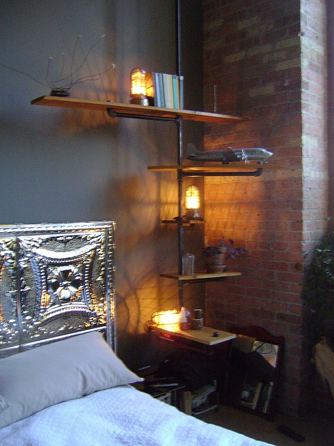 pipe bookshelf/nightstand - could be cool on J's side