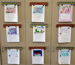 Displaying writing with corkboards, push pins, and clips.  Saves space on your bulletin boards!
